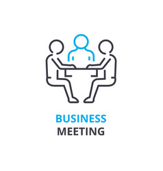 business meeting concept outline icon linear vector image