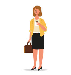 businesswoman is standing with a briefcase in hand vector image