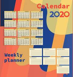 calendars 2020 weekly planner vector image