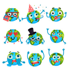 cartoon funny earth planet emoji with different vector image