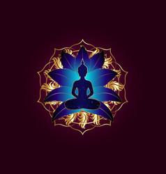 Chakra concept inner love buddha lotus position vector