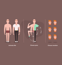 character man for animation hipster male construc vector image