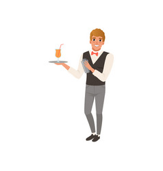 Cheerful bartender holding a tray with alcohol vector