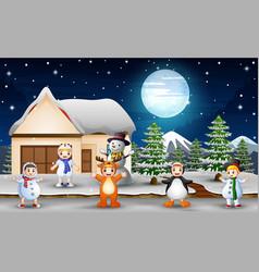 children enjoy wearing different costumes in winte vector image