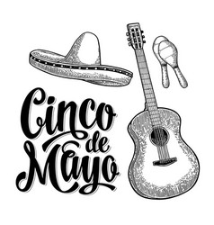 cinco de mayo lettering and guitar maracas and vector image