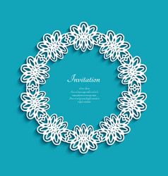 Circle frame with cutout lace border pattern vector