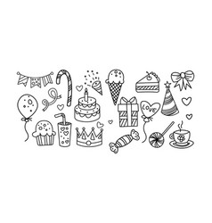 collection birthday elements hand drawn vector image
