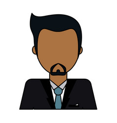 Colorful image caricature faceless half body man vector
