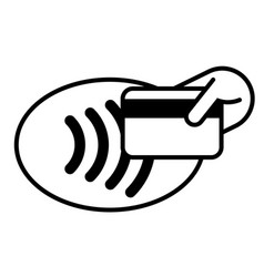 Contactless payment credit card and hand tap logo vector