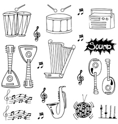 Doodle of hand draw musical instrument vector