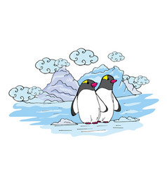 Doodle penguins on an ice floe near ice and clouds vector