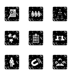 Employee icons set grunge style vector