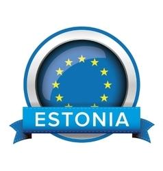 EU flag button with Estonia ribbon vector image