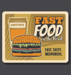 Fastfood on road bistro cheeseburger coffee vector