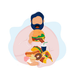 Fat man eating burger with fast food vector