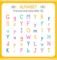 Find and circle every letter y worksheet vector