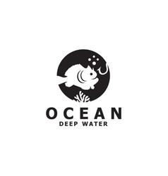 Fish icon logo design template vector