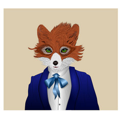 Fox dressed in a tuxedo with present vector