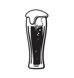 glass of beer with foam hand drawn vector image