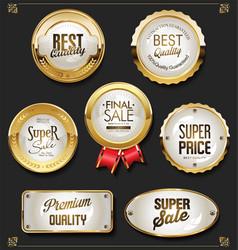 golden sale labels retro vintage design vector image
