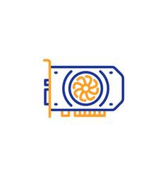 Gpu graphic card line icon computer component vector