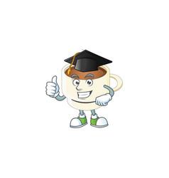 Graduation character cup coffee in cartoon mascot vector