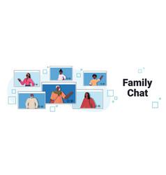grandparents parents and children having virtual vector image