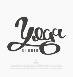 handwritten word yoga for logo of studio vector image