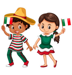 Happy boy and girl holding flag of mexico vector