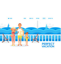 happy family together on summer vacation cruise vector image