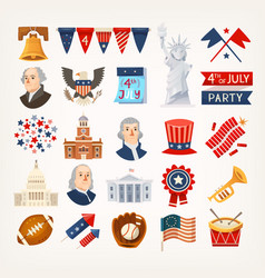 independence day icons vector image