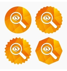 Investigate icon Magnifying glass with eye vector image