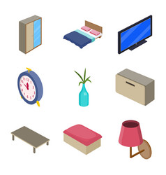 isolated object of bedroom and room symbol set of vector image