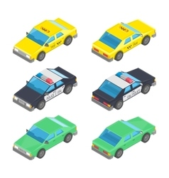 Isometric car taxi police vector image vector image