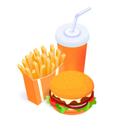 isometric food - burger vector image