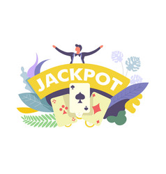 Jackpot lucky win in casino money rewards vector