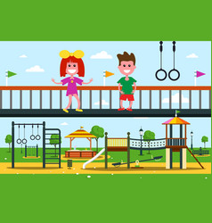 kids on playground flat design city park cartoon vector image
