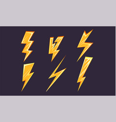 lightning bolt set bright thunderbolts of vector image