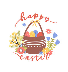 Lovely postcard template with happy easter wish vector