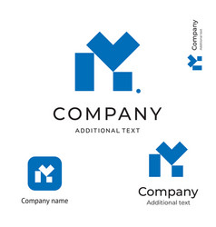 m letter technological contstruction logo modern vector image