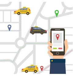 male hand holding smartphone with public taxi vector image