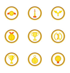 Medal icons set cartoon style vector