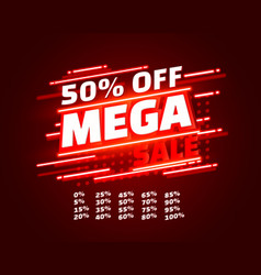 mega sale off banner set collection neon color vector image