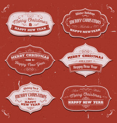 merry christmas banners badges and frames vector image