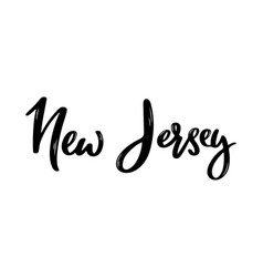 new jersey - hand drawn lettering name vector image