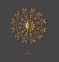 Ornamental golden flower mandala vector