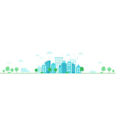 panorama a small town light urban landscape vector image