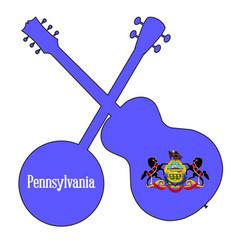 Pennsylvania state flag banjo and guitar vector