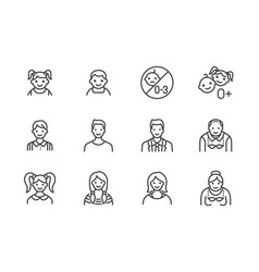people age flat line icons set growth stage vector image
