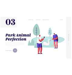 people spend time in open air animal park vector image